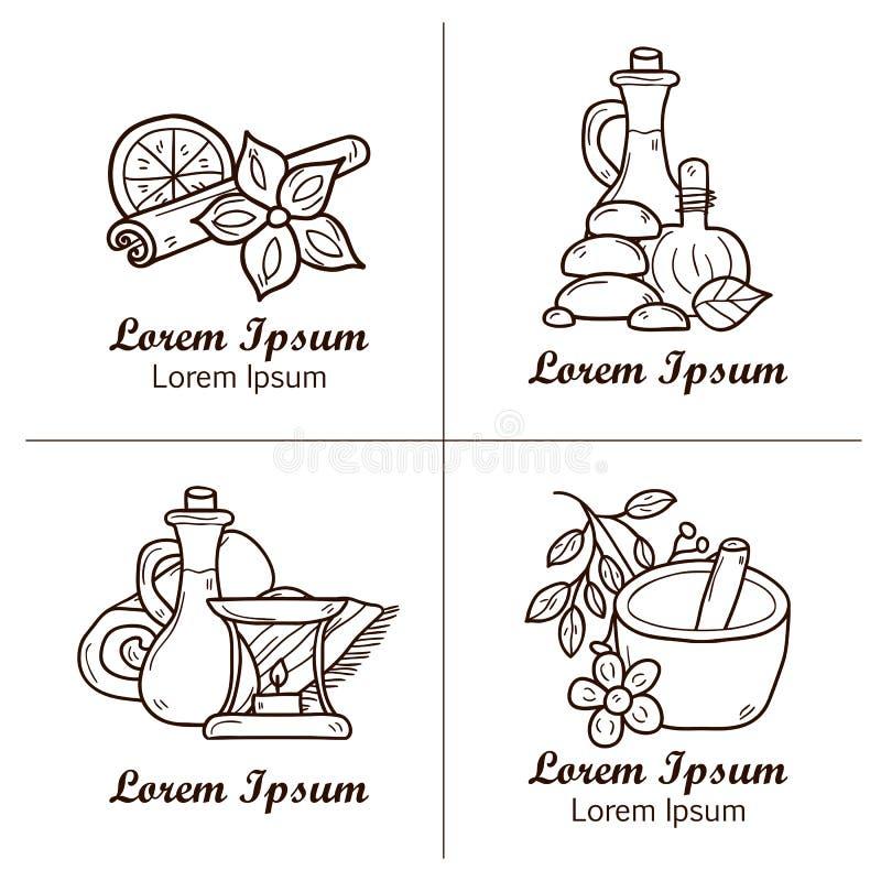 Reeks beeldverhaal ayurvedic emblemen of kentekens ter beschikking royalty-vrije illustratie