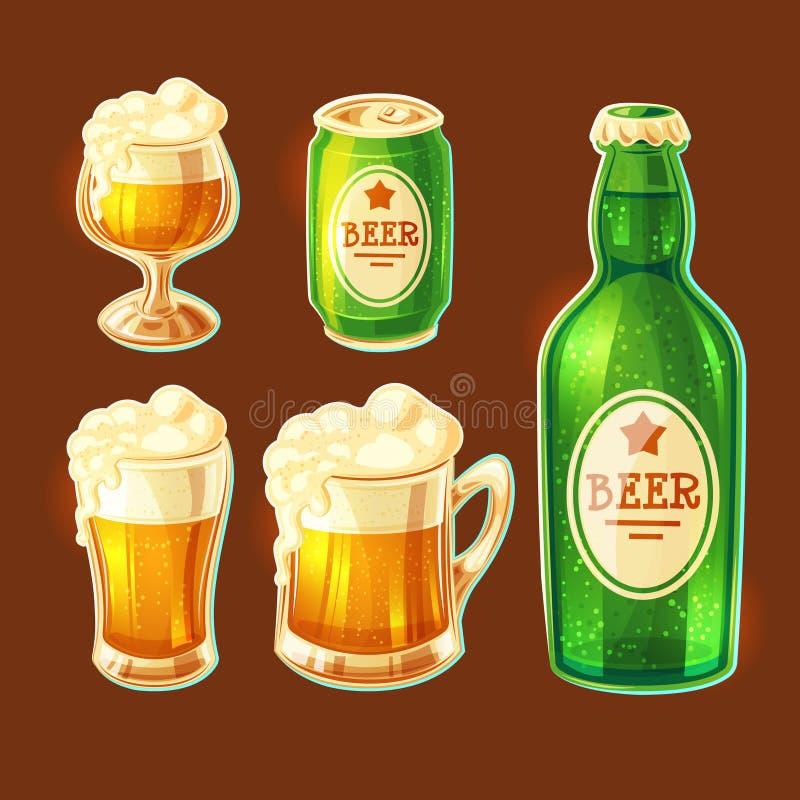 Reeks beeldverhaal diverse containers voor het bottelen van en het opslaan van bier vector illustratie