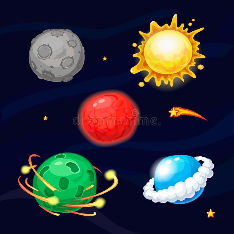 Reeks beeldverhaal fantastische planeten royalty-vrije illustratie