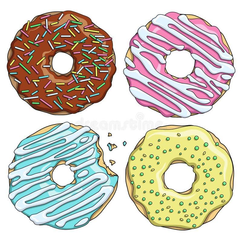 Reeks beeldverhaal kleurrijke smakelijke donuts op de witte achtergrond royalty-vrije illustratie