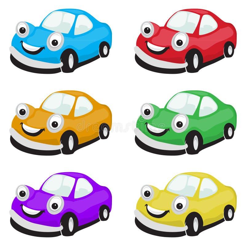 Reeks beeldverhaalauto's in verschillende kleuren stock illustratie