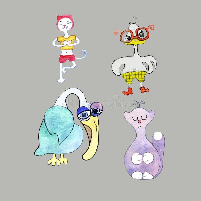 Reeks beeldverhaaldieren: kat het praktizeren yoga, droevige pelikaan, boos kuiken in glazen, potprinses Kan als stickers worden  royalty-vrije illustratie