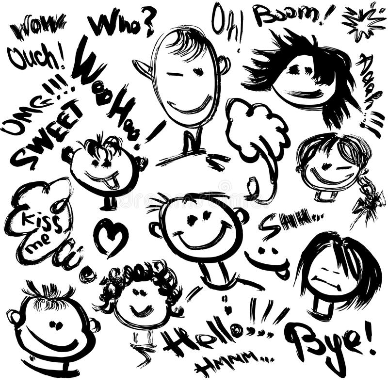 Reeks Beeldverhaalgezichten met verschillende emoties. stock illustratie