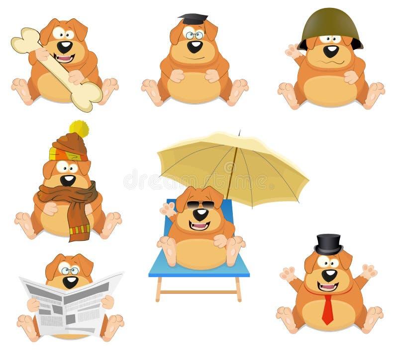 Reeks beeldverhaalhonden vector illustratie