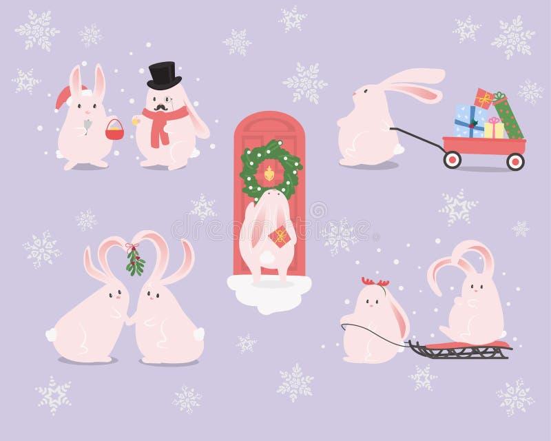 Reeks beeldverhaalkarakters De viering van konijntjeskerstmis stock illustratie