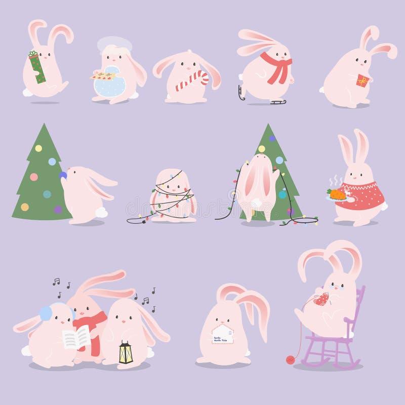 Reeks beeldverhaalkarakters De viering van konijntjeskerstmis vector illustratie