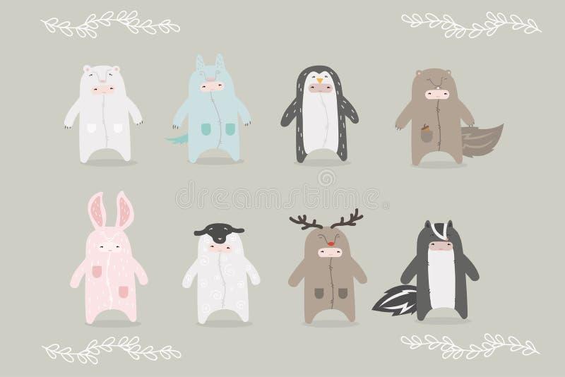 Reeks beeldverhaalkarakters in kostuumsdieren royalty-vrije illustratie