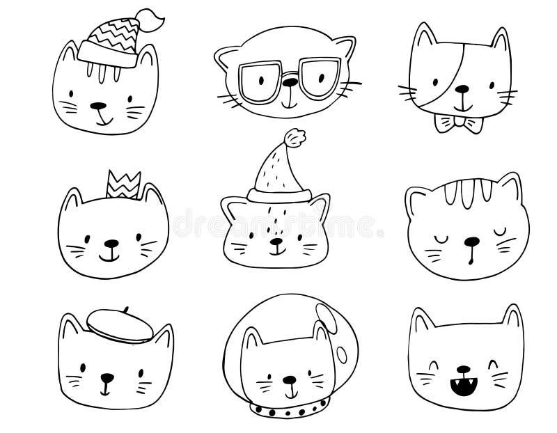 Reeks beeldverhaalkatten in grappige kleren en toebehoren royalty-vrije illustratie