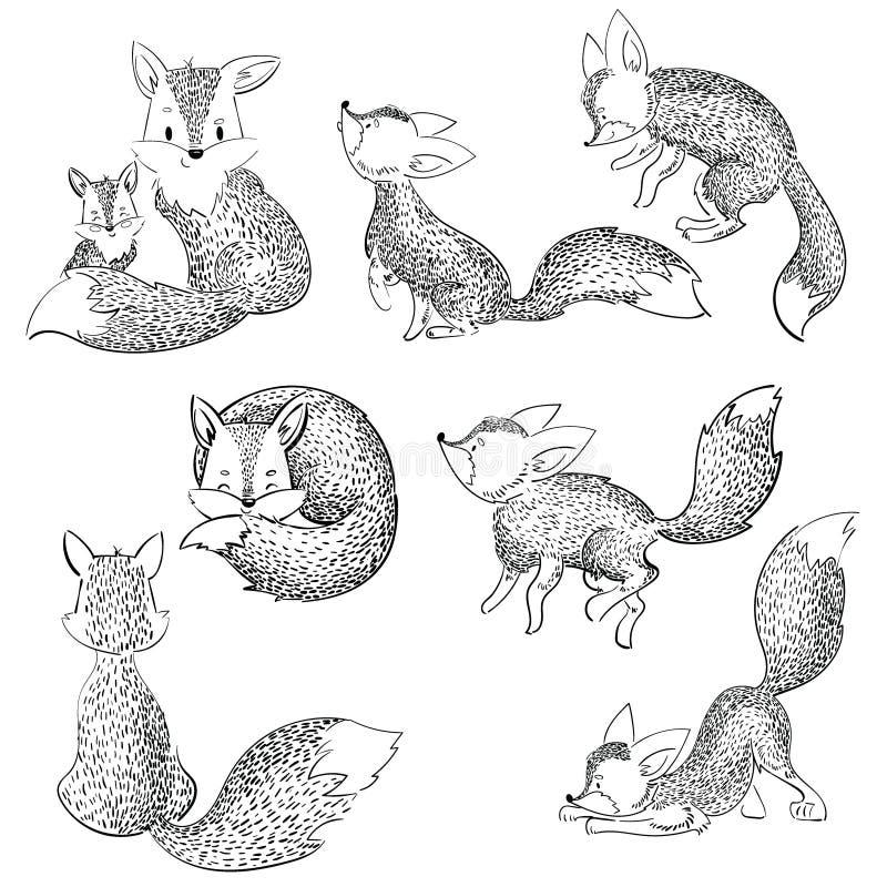 Reeks beeldverhaalvossen Inzameling van leuke vossen Vectorillustratie voor kinderen Zwart-witte wilde dieren stock illustratie