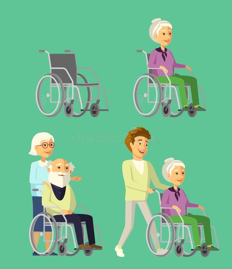 Reeks bejaarde mensen in rolstoel Maatschappelijk werker die met hogere vrouw in rolstoel wandelen royalty-vrije illustratie