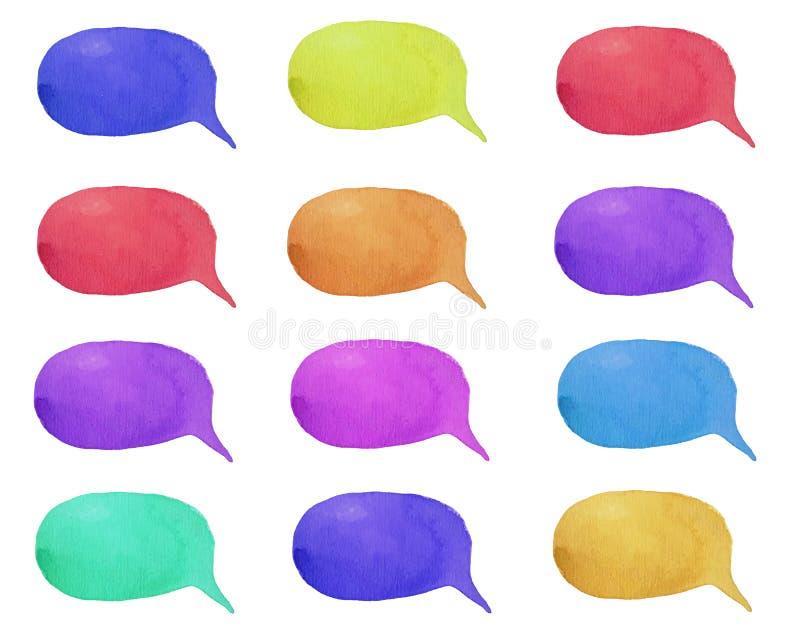 Reeks bellen van de waterverf de kleurrijke toespraak of gesprekswolken stock illustratie
