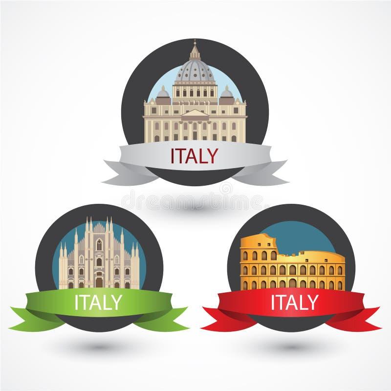 Reeks beroemde monumenten van Italië Milan Cathedral, Colosseum en St Peter Basiliek vector illustratie