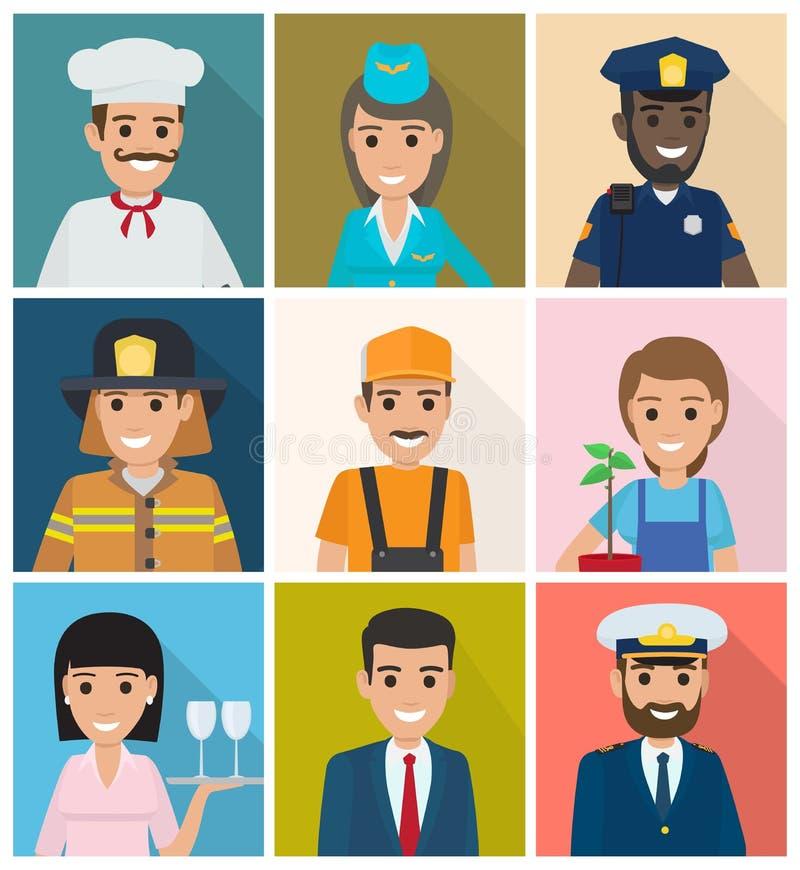 Reeks beroepen Negen Vierkant Pictogrammen Vlak Ontwerp royalty-vrije illustratie