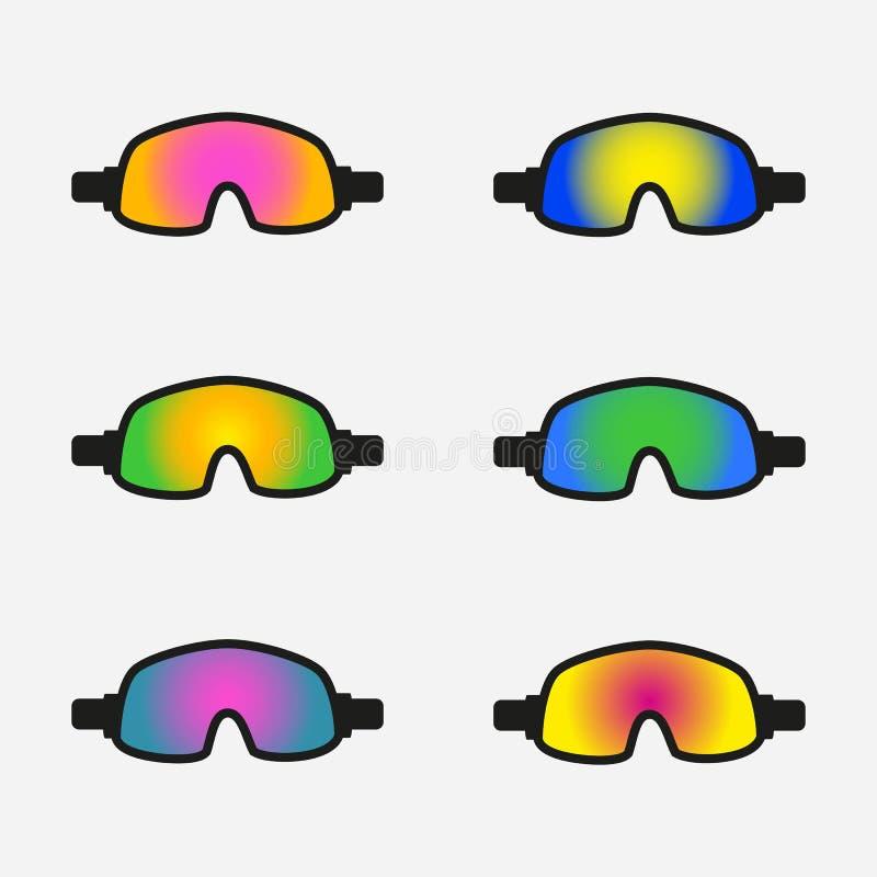 Reeks beschermende brillenpictogrammen op witte achtergrond stock illustratie
