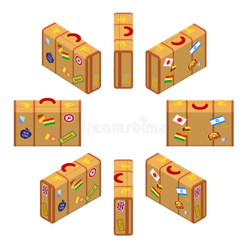 Reeks bevindende gele reizigers` s koffers vector illustratie