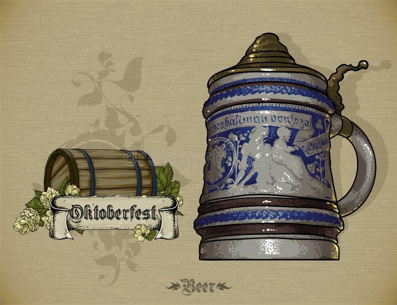 Reeks bierelementen stock illustratie
