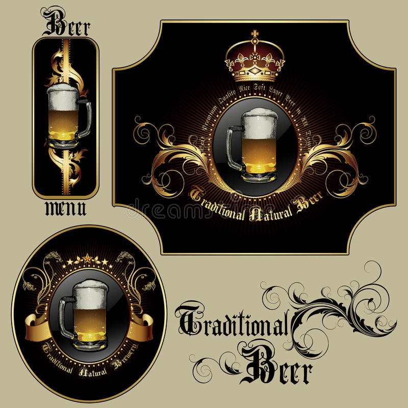 Reeks bierelementen royalty-vrije illustratie