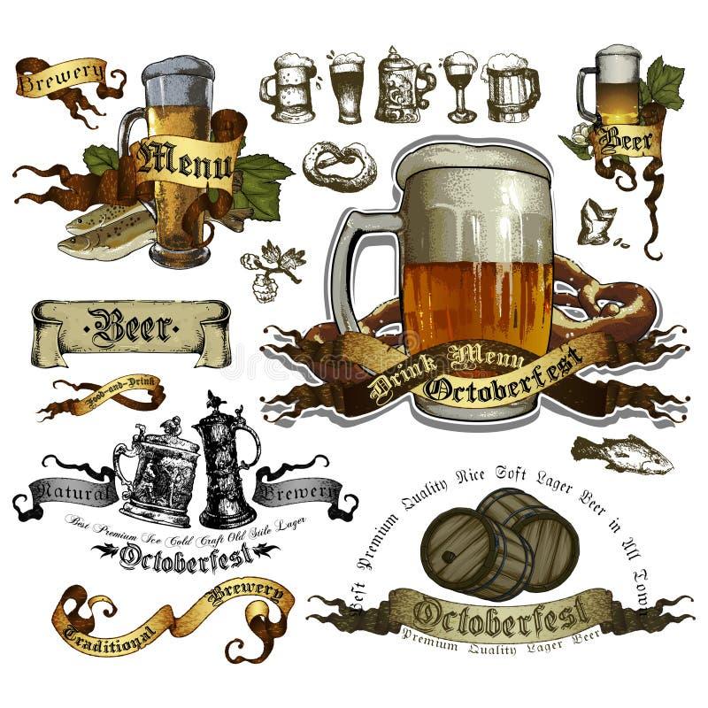Reeks bierelementen vector illustratie