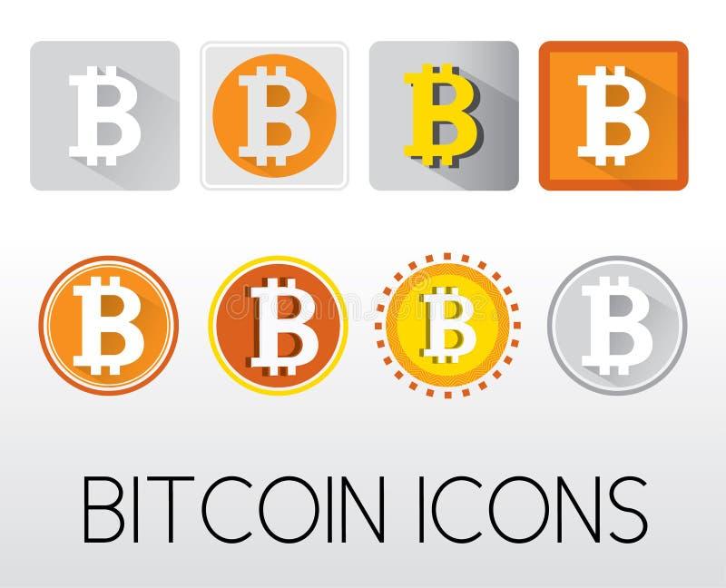 Reeks bitcoin pictogrammen royalty-vrije illustratie