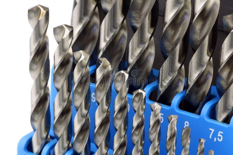 Reeks bits van gehard staal van de metaalboor stock fotografie