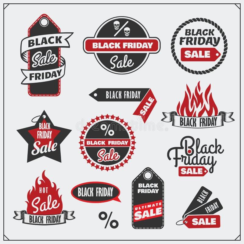 Reeks Black Friday-Verkoopmarkeringen, banners, kentekens, etiketten en ontwerpelementen vector illustratie