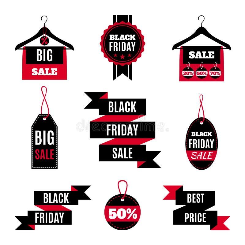 Reeks Black Friday-verkooppictogrammen vector illustratie