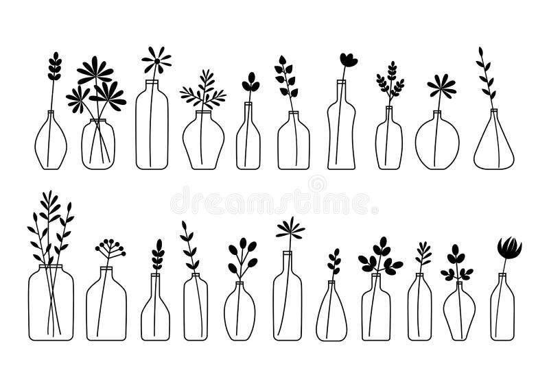 Reeks bladeren, bloemen en takken in flessen en vazen op wit worden geïsoleerd dat vector illustratie
