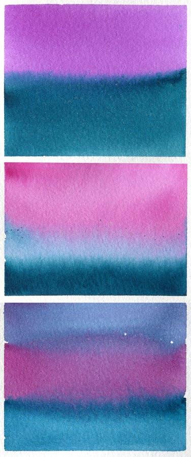 Reeks blauw-purpere waterverfachtergronden royalty-vrije stock foto