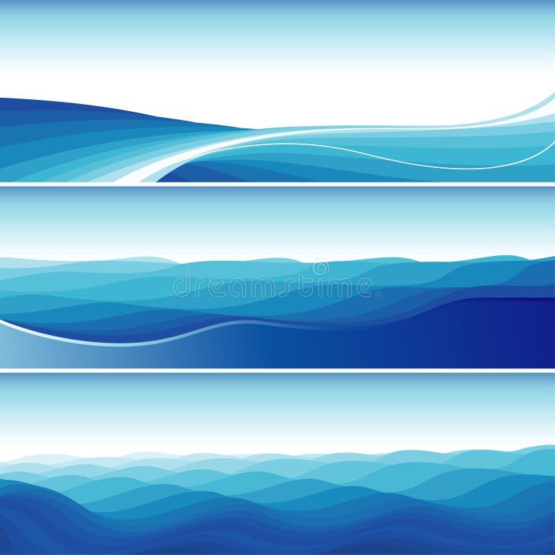 Reeks Blauwe Abstracte Achtergronden van de Golf stock illustratie