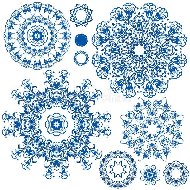 Reeks blauwe bloemencirkelpatronen Achtergrond in de stijl stock illustratie