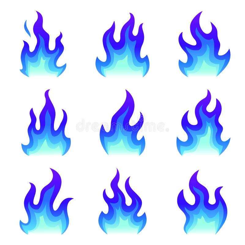 Reeks blauwe brandpictogrammen, de Vlakke vectorillustratie van de brandvlam Inzameling van blauwe die vlammen of kampvuren op wi royalty-vrije illustratie