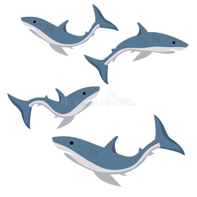reeks blauwe die haaien op witte achtergrond wordt geïsoleerd vector illustratie