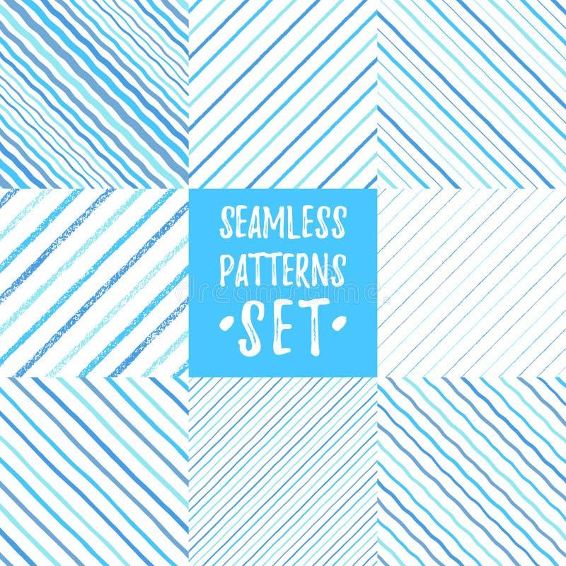 Reeks blauwe diverse gestreepte diagonale naadloze patronen stock illustratie