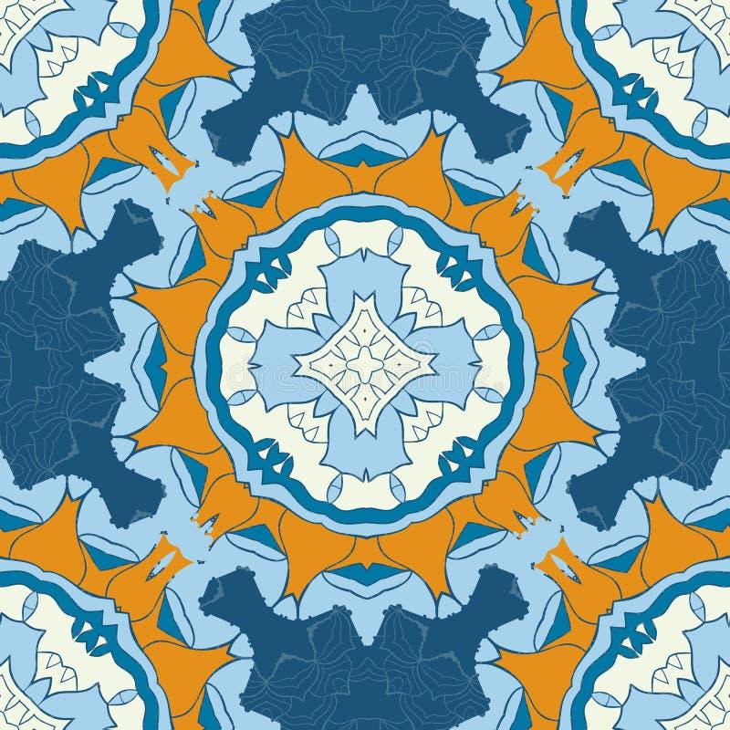 Reeks blauwe en bruine naadloze mandalas Decoratieve symmetrieornamenten Antistresstherapiepatroon Weefselontwerp vector illustratie