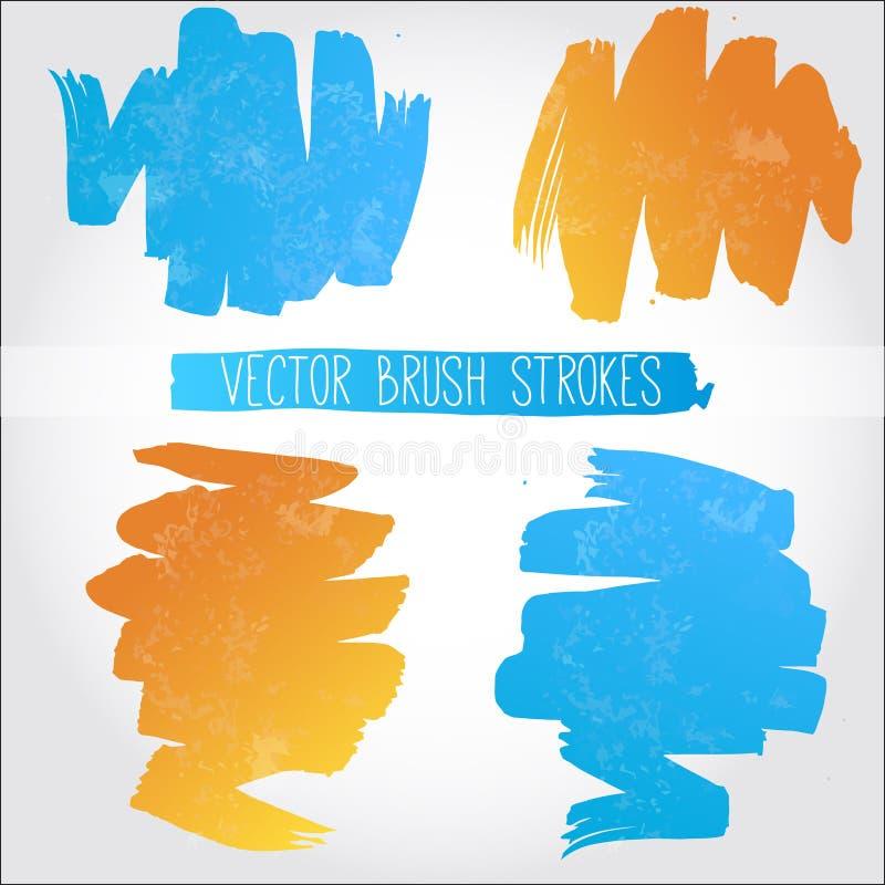 Reeks blauwe en oranje vectorborstelslagen stock illustratie
