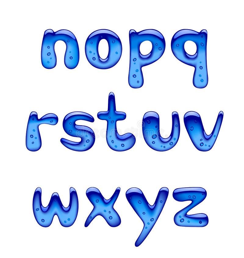 Reeks blauwe gel, ijs en karamel geïsoleerde alfabetkleine letters stock illustratie