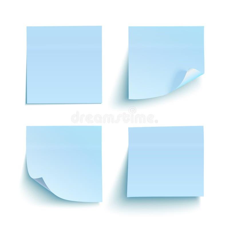 Reeks blauwe kleverige nota's vector illustratie