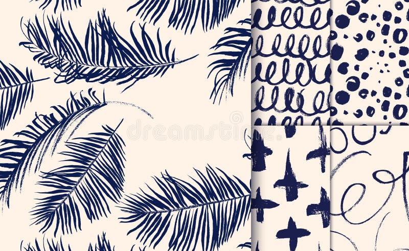 Reeks blauwe naadloze die patronen met droge borstel worden getrokken vector illustratie