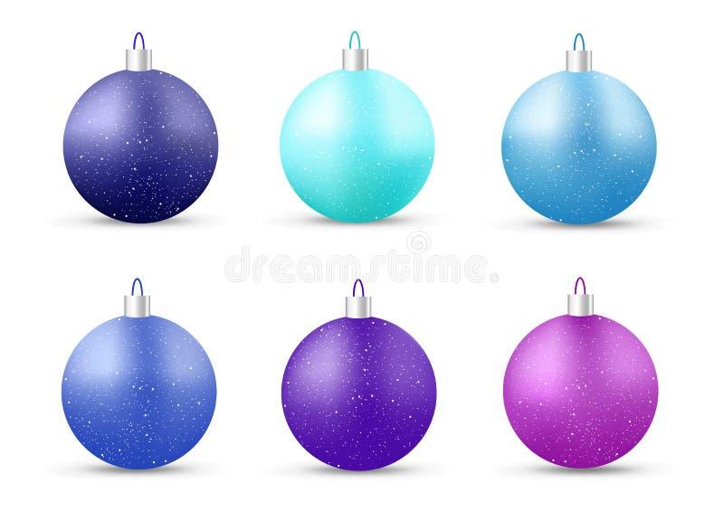 Reeks blauwe Nieuwjaarballen royalty-vrije illustratie