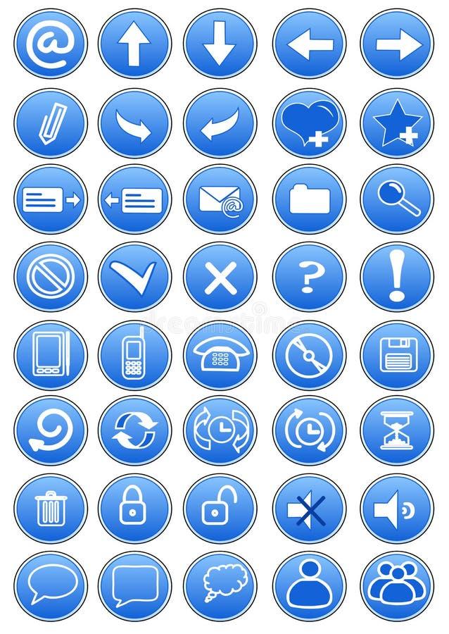 Reeks blauwe pictogrammen vector illustratie