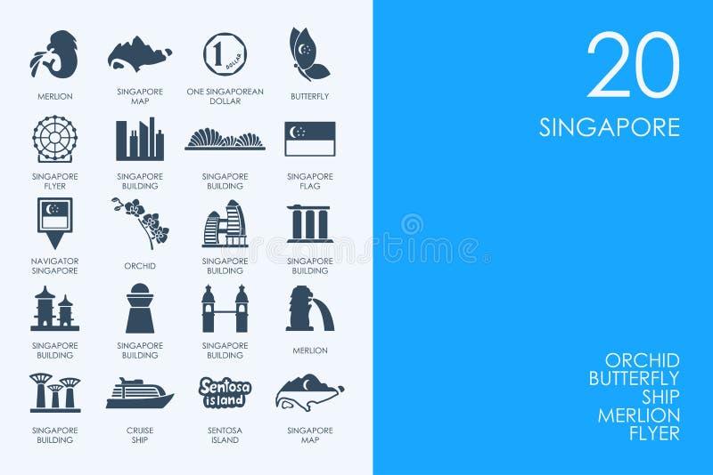 Reeks BLAUWE pictogrammen van Singapore van de HAMSTERbibliotheek royalty-vrije illustratie