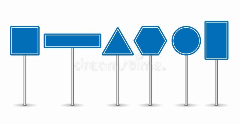 Reeks blauwe verkeersteken op witte achtergrond Vector illustratie vector illustratie