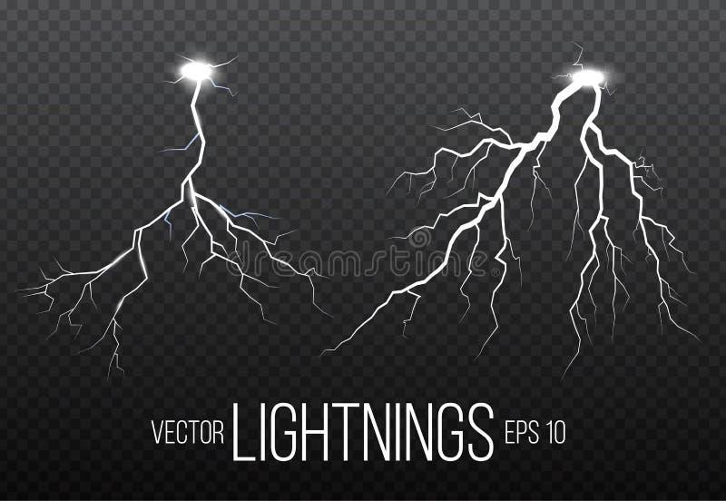 Reeks bliksem en van de van het van de donderbout, onweer en bliksem gloeden Magische en heldere fonkeling stock illustratie