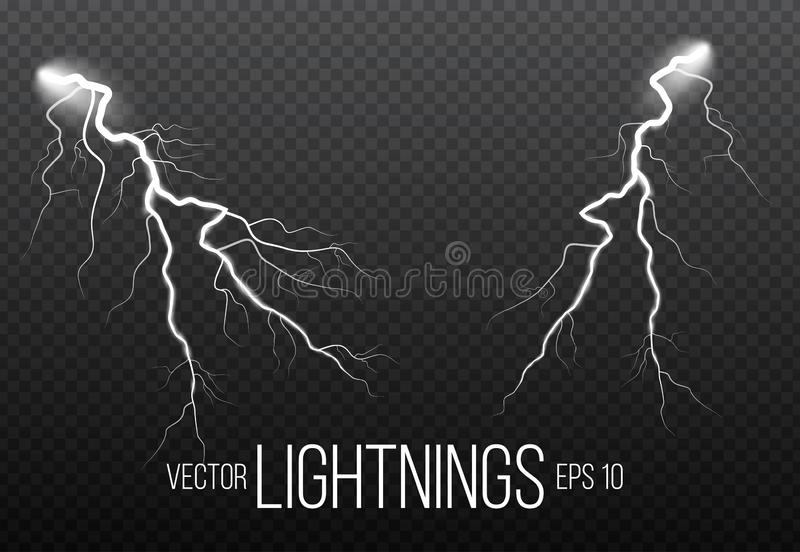 Reeks bliksem en van de van het van de donderbout, onweer en bliksem gloeden Magische en heldere fonkeling vector illustratie