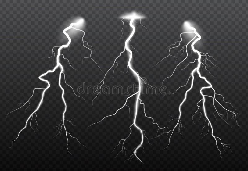 Reeks bliksem en van de van het van de donderbout, onweer en bliksem gloeden Magische en heldere fonkeling royalty-vrije illustratie