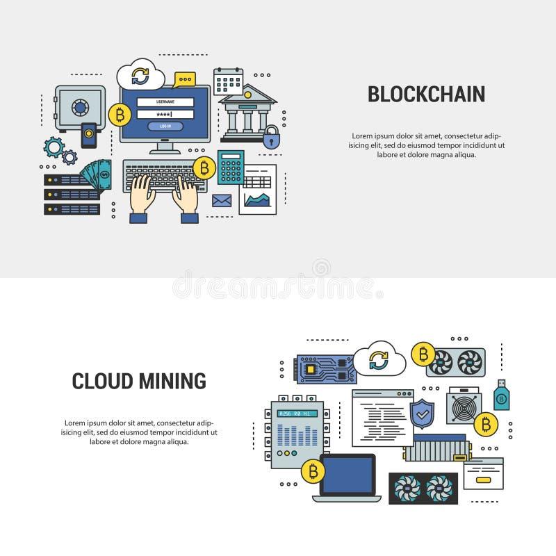 Reeks blockchain en mijnbouwbanners met bitcoins royalty-vrije illustratie