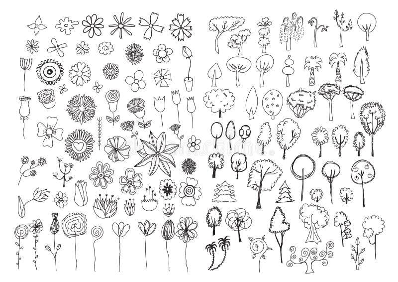 Reeks bloemen en bomenkrabbels stock illustratie