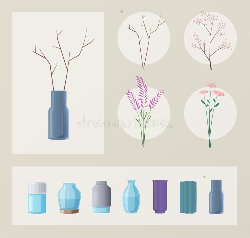 Reeks bloemen en vazen De vectorillustratie van het beeldverhaal Groen Huis stock illustratie