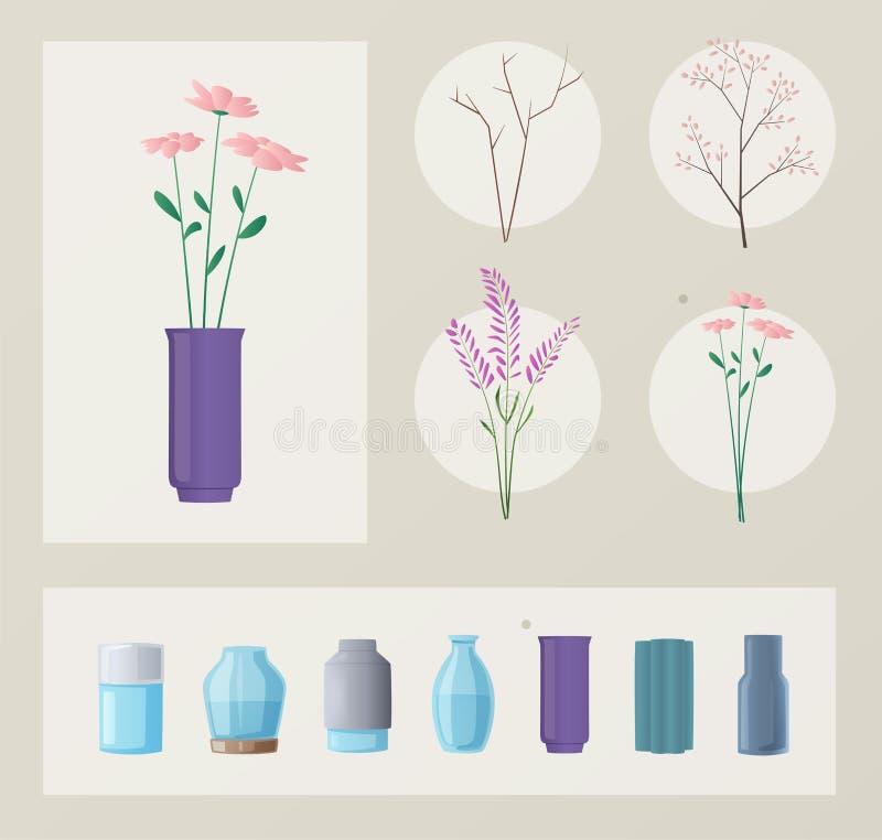 Reeks bloemen en vazen De vectorillustratie van het beeldverhaal Groen Huis royalty-vrije illustratie