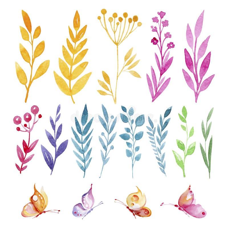 Reeks bloemen en vlinders in waterverf royalty-vrije illustratie